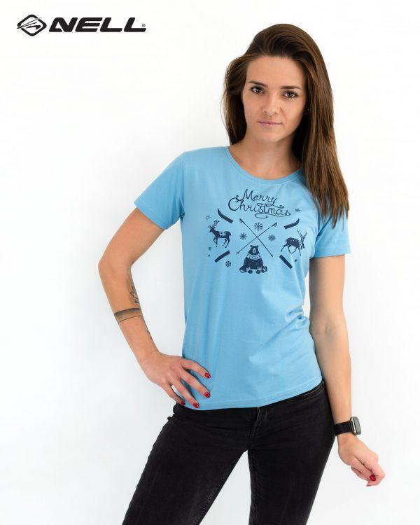 Dámské triko JM Christmas blue, K Sporting