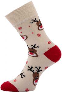Dámské vánoční ponožky Sobi béžové 37-41, K Sporting
