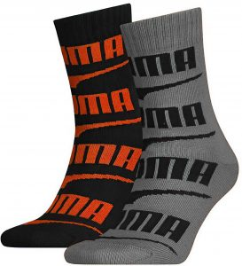Dětské ponožky Puma Seasonal Logo Sock 2-Pack Black Grey Melange, K Sporting