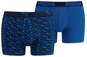Pánské boxerky Puma Logo AOP Boxer 2-Pack Blue, K Sporting
