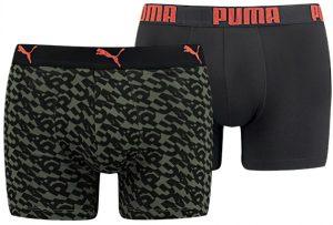 Pánské boxerky Puma Logo AOP Boxer 2-Pack Army Green, K Sporting