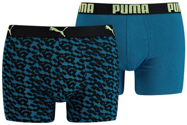 Pánské boxerky Puma Logo AOP Boxer 2-Pack Petrol Blue, K Sporting