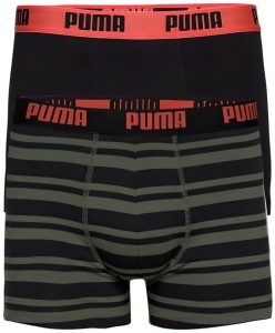 Pánské boxerky Puma Heritage Stripe Boxer 2-Pack Army Green, K Sporting
