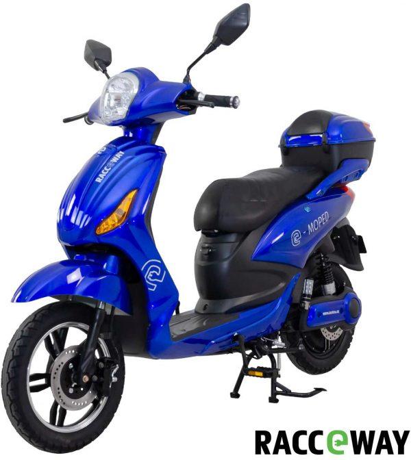 Elektroskútr RACCEWAY E-MOPED – modrý-lesklý s baterií 20Ah, K Sporting